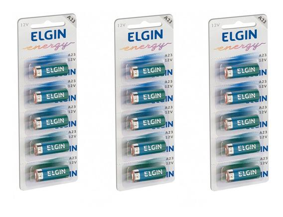 3 Cartelas Bateria Alcalina Energy A23 12v Elgin 15 Unid