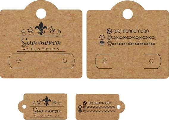 Kit Tags E Cartelas Para Bijuteria - Papel Kraft - 500 Peças