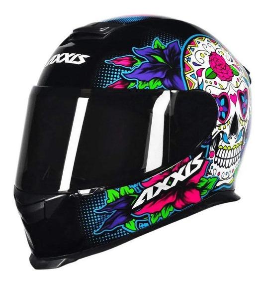 Capacete para moto integral Axxis Helmets Eagle Skull black/blue XL