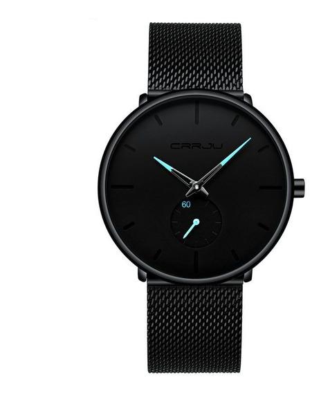 Relógio Masculino Com Pulseira Preta A Prova D