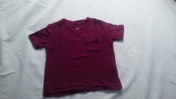 Camiseta Gola V Gap Vinho Tamanho 12/18 Meses
