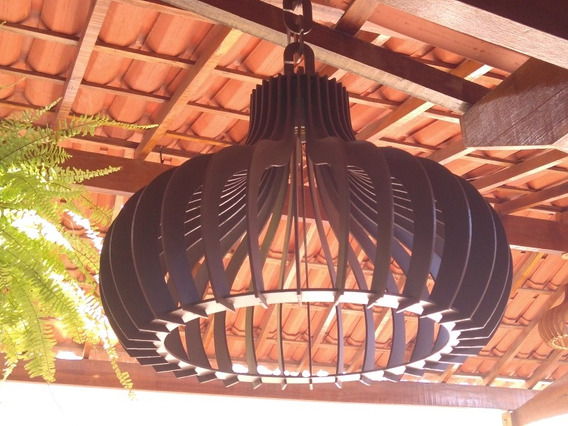 Kit 2 Luminária Pendente Rústico Tabaco 45cm