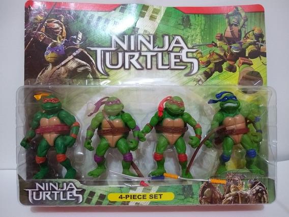 Boneco Tartarugas Ninjas Cartela Com 4 Bonecos Flexiveis