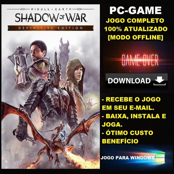 Terra-média: Sombras Da Guerra Ed Definitiva - Pc - Digital