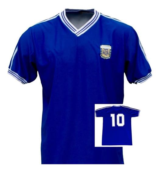 Camiseta Argentina 1990 Maradona Caniggia Ruggeri Retro Azul