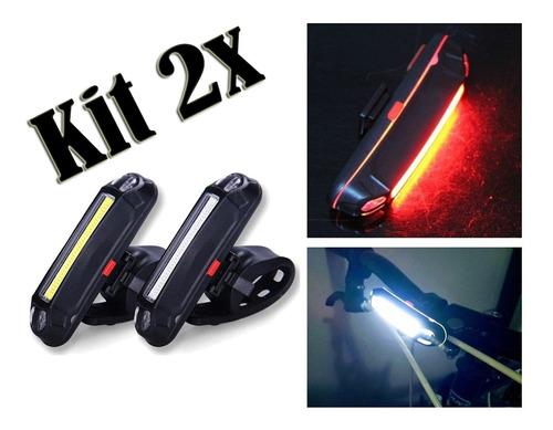 Imagem 1 de 9 de Kit 2x Lanterna Bike Sinalizador Traseiro Farol Recarregavel