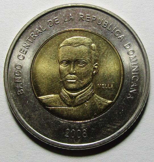 República Dominicana Bimetalica Ramon Mella 10 Pesos 2008