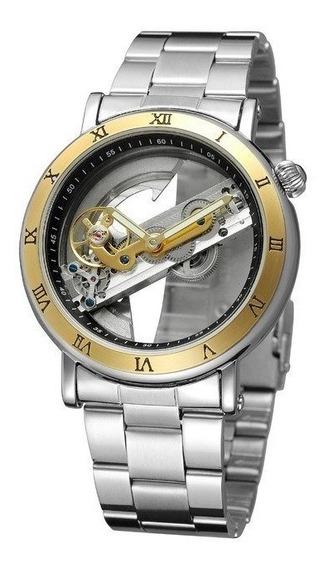 Relógio Automático Esqueleto Luxo Forsining Aço Inox + Caixa