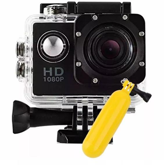 Câmera Filmadora Hd 1080p Sport Stand Up Prova Dagua + Boia