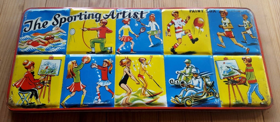 Antigua Caja Lata Acuarela The Sporting Artist. England17067