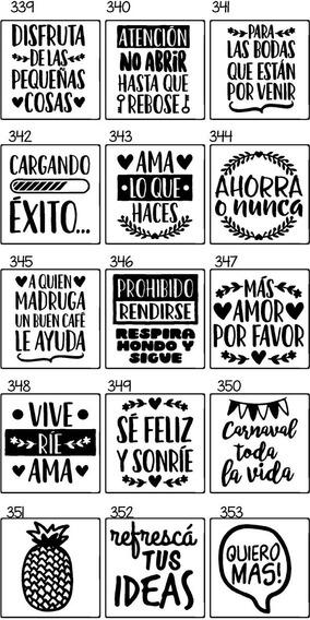 25 Etiquetas Frascos Adhesivas Vinilo Corte Fluor Frases