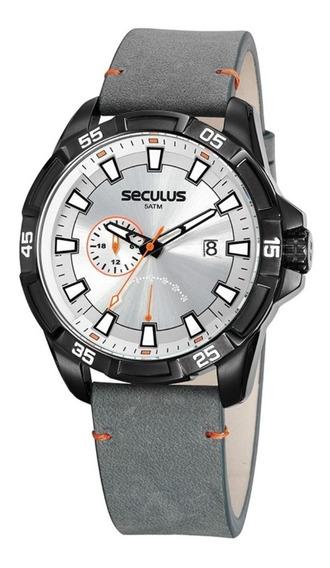 Relógio Seculus Masculino Calendário E Couro 20829gpsvpc2