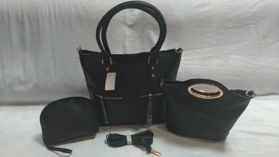Bolsa Feminina Kit Com 3 Bolsas Grande Média E Necessaire