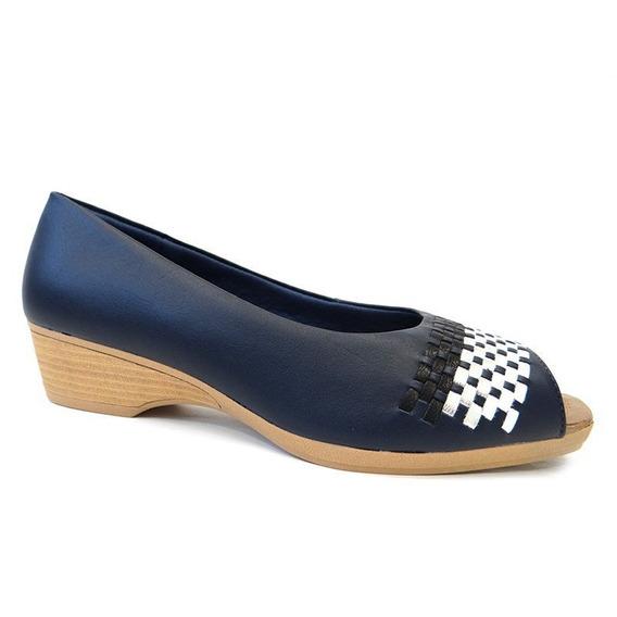 Sapato Peep Toe Couro Conforto Z2302 - Usaflex (57 - New Blu