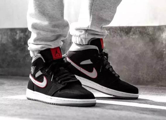 Tenis Nike Air Jordan 1 Mid - Black / White / Gym Red