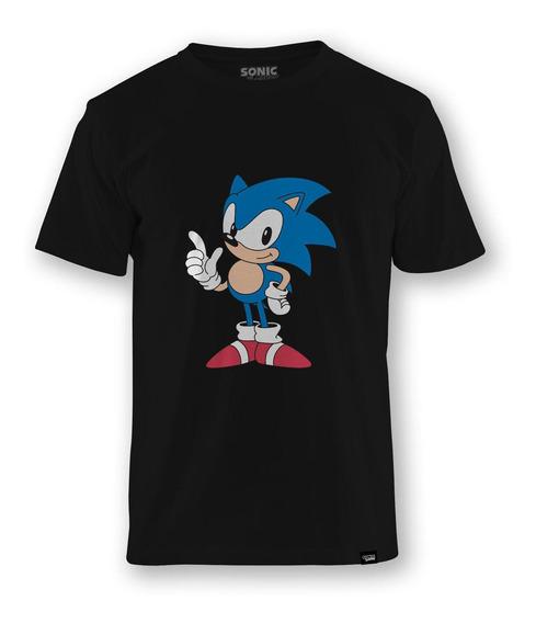 Camiseta Sonic The Hedgehog Classic Pose Preta - Gg