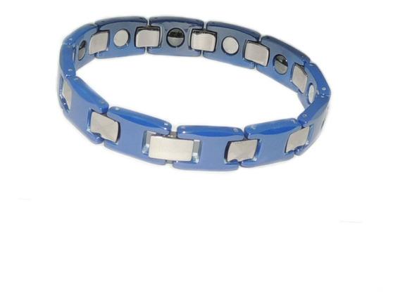 Pulseira Em Tungstenio Azul Escuro E Detalhes Em Cor Prata