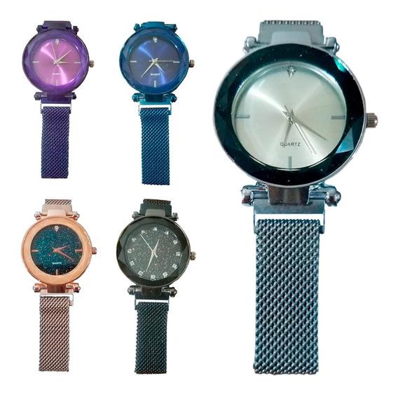 Relógio Feminino Pulso Feminino Preto Dourado Magnético Luxo