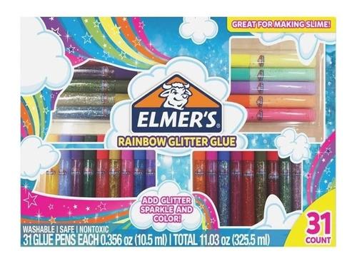 Set Elmers Glitter Glue 31 Piezas Para Slime - El Rey