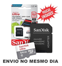 Cartão Sandisk Micro Sdxc Ultra 80mb/s 64gb Frete Grátis!!!