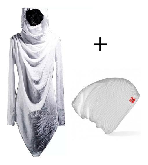 Camisa Longline Swag C23 Manga Longa Gola Vira Capuz + Touca