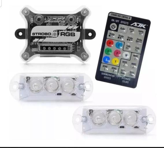Kit Strobo Ajk Rgb Controle Remote Led 2 Faróis 7 Cores