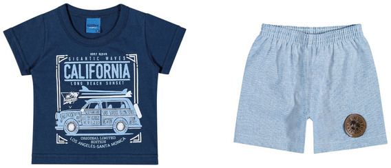 Conjunto Camiseta Em Meia Malha E Bermuda Em Moletim