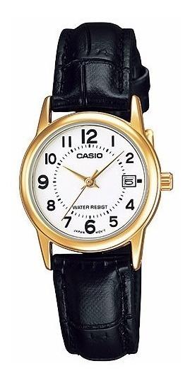 Relogio Casio Ltp V002gl-7b Retrô Dourado Fem Couro Calendar