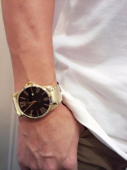 Relógio Masculino Atlantis Original Algarismo Romano Dourado