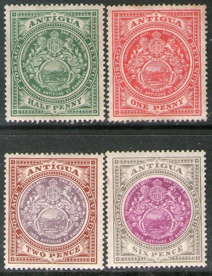 Antigua 4 Sellos Nuevos Escudo De La Colonia Años 1908-17