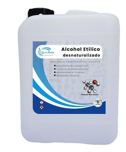 Imagen 1 de 3 de Alcohol Etílico 96 Grados, 5 Litros Quimiklean