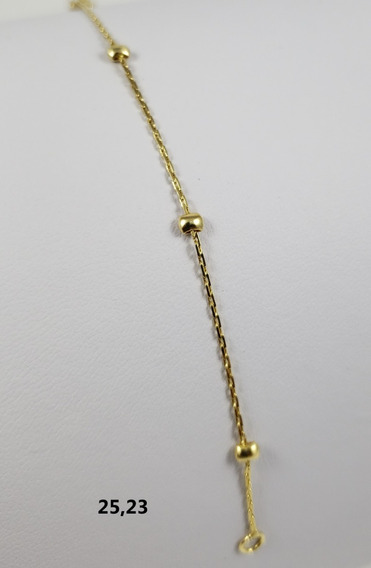 Pulseira Bruna Banhada À Ouro 18k Bolinha Quadrada 14cm