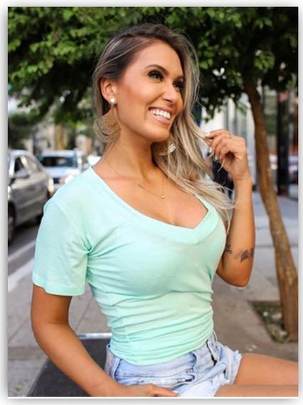 Camisa T-shirt Podrinha Feminina Manga Curta Blogueiras
