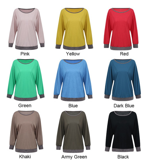Camiseta De Mujer Bloque De Color Empalme Hombro Caído