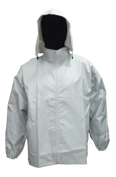 Campera Rompeviento Impermeable Liso Blanco