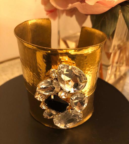 Pulsera De Latón Dorado Con Aplicación De Piedras De Cristal