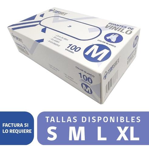 Imagen 1 de 1 de Guantes De Vinilo Caja 100 Unidades Desechable Tallas  M