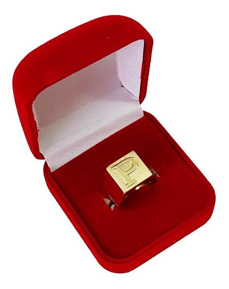Anel De Letra Masculino Ouro 18kl 750