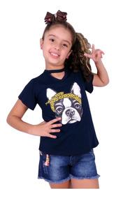 Kit 3 Blusa Camiseta Feminina Infantil Personagem
