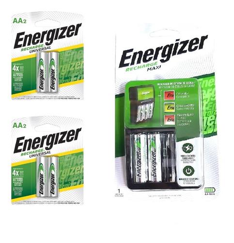 Cargador Energizer Maxi Aa Aaa + 6 Pilas Recargables Aa