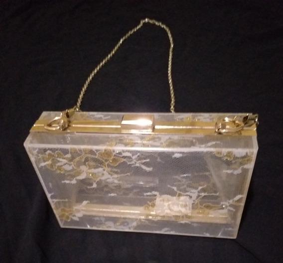 Bolsa Clutch Luxo Acrílica Transparente