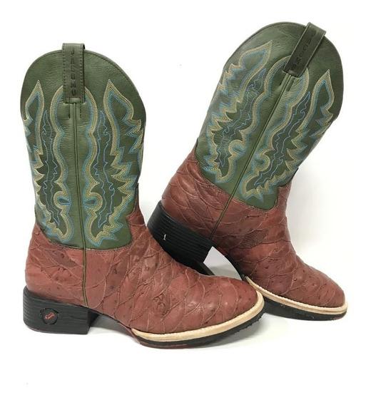 Bota Texana Country Masculina Jácomo Couro De Avestruz 4112