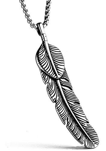 Corrente Masculina Pingente Pena Em Aço Inox Alta Qualidade