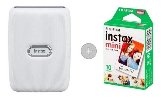 Impressora Instax Mini Link Com 10 Filmes - Branco Cinza
