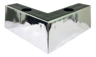 Pé Cantoneira Canto Cromado Prata Plástico Sofá Puff 5,5x15