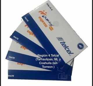 25pz Chip Express Telcel R4 A $150 Pesos $6.00 C/u Región 4