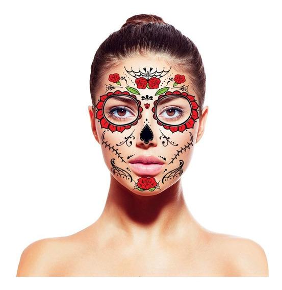 15 Set Tatuajes Para Cara, Día De Muertos, Halloween Disfraz