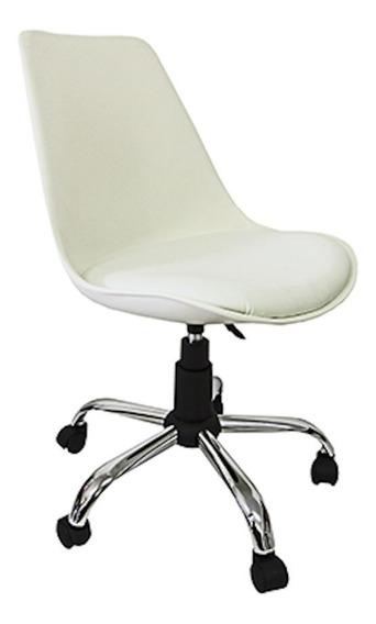 Cadeira de escritório Pelegrin C032A branca con estofado do couro sintético