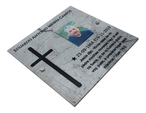Placa Marmol Grabada 70x40cm. Para Cementerio + Foto 14x10
