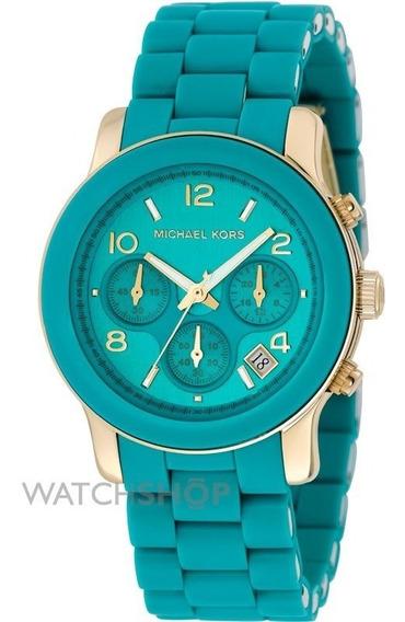 Relógio Michael Kors Mk5266 Orig Chron Anal Azul Turqsa